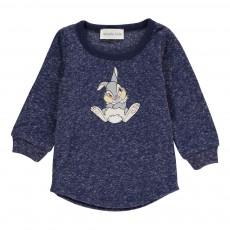 T-Shirt Chiné Panpan Lapin Bleu marine