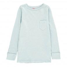 T-Shirt Chiné Poche Bleu pâle