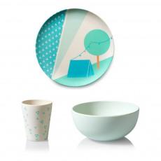 Set vaisselle Camping en bambou Bleu