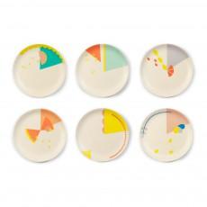 Assiettes à dessert Motifs en bambou - Set de 6 Multicolore