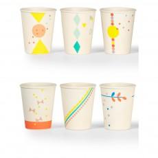 Gobelets imprimés en bambou - Set de 6 Multicolore