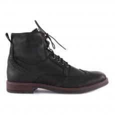 Boots Lacets Cuir Zippées Noir