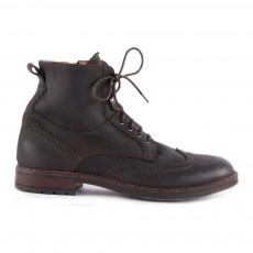 Boots Lacets Cuir Zippées Marron