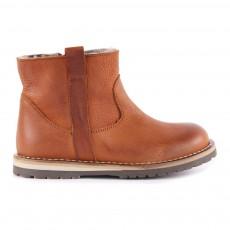 Boots Cuir Zippées Fourrées Mouton Camel
