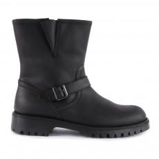 Boots Boucles Cuir Fourrées Zippées Noir