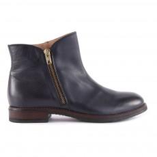 Boots Cuir Zippées Bleu marine