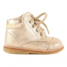Chaussures Premiers Pas Cuir Irisé à Lacets Creek Doré