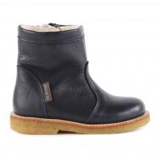 Boots Cuir Fourrées et Zippées Tex Bleu marine