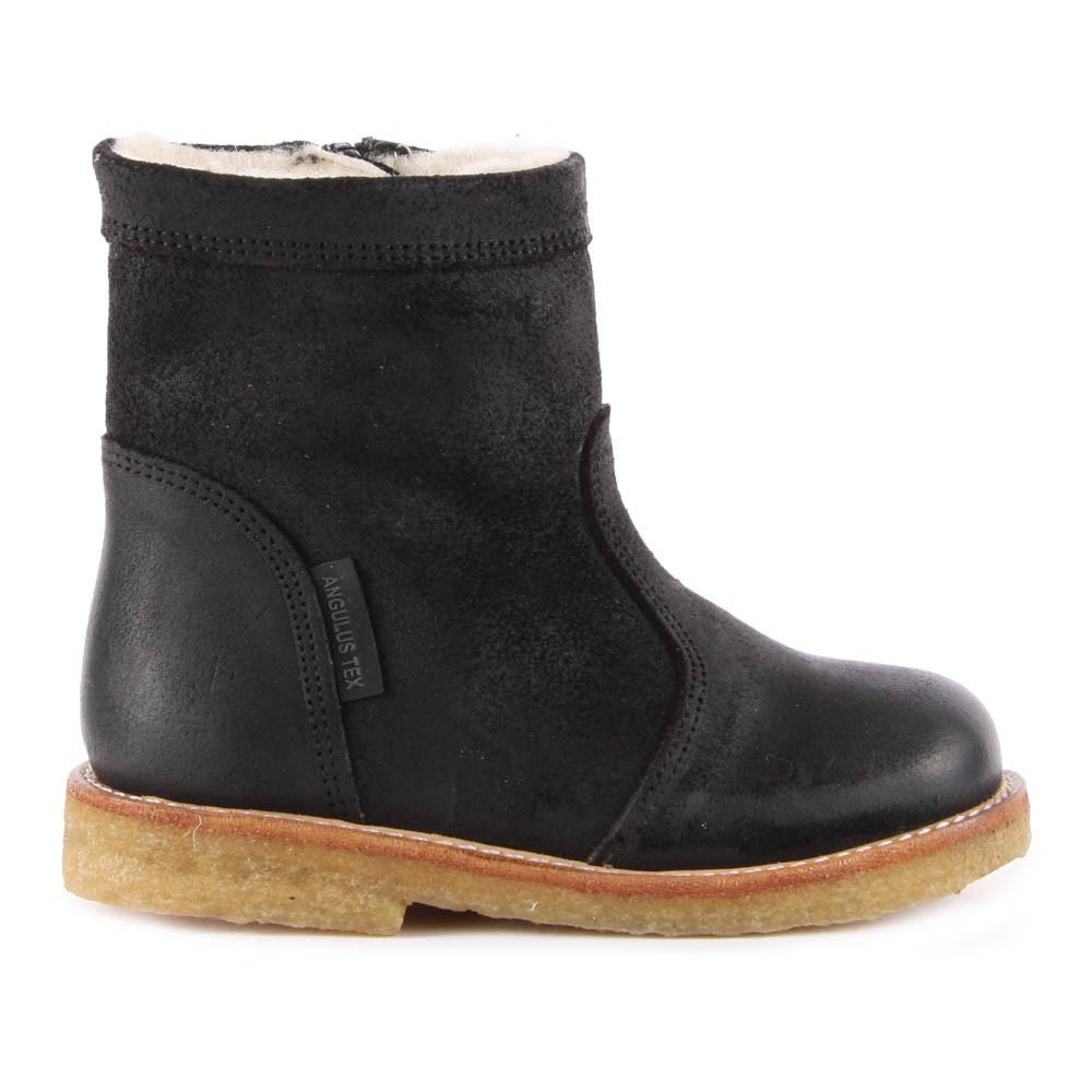 boots cuir fourr es et zipp es tex noir angulus chaussures enfant smallable. Black Bedroom Furniture Sets. Home Design Ideas