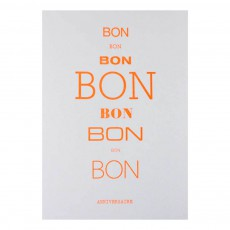 Carte double A6 Bon Bon Bon Anniversaire Blanc