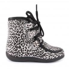 Boots Lacets Fourrées Léopard Ecru