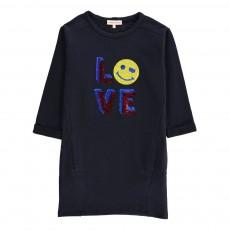 Robe Molleton Smiley Love Sequins Molli Bleu marine
