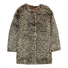 Manteau Façon Fourrure Leopard Bunny Beige