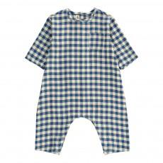 Combinaison Carreaux Coton Japonais Bleu