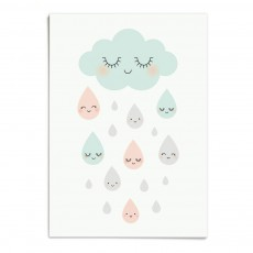Affiche Douce pluie A3 Multicolore