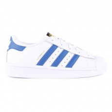 Baskets Cuir Lacets Superstar Bleu Blanc