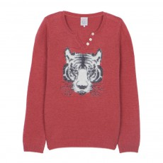 Pull Laine Col Tunisien Tigre Miffy Vieux Rose