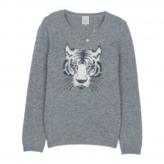 Pull Laine Col Tunisien Tigre Miffy Gris