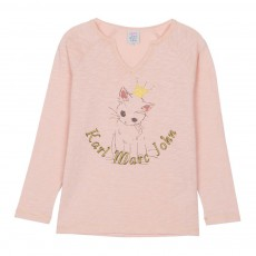 T-Shirt Col Tunisien Chat Tabory Rose pâle