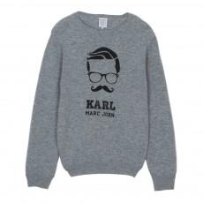 Pull Laine Karl Moustache Miou Gris