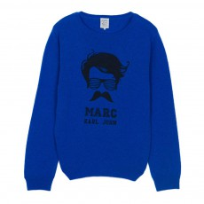 Pull Laine Marc Moustache Miou Bleu roi