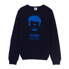 Pull Laine John Moustache Miou Bleu marine