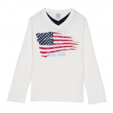 T-shirt Drapeau Américain Tarou Ecru