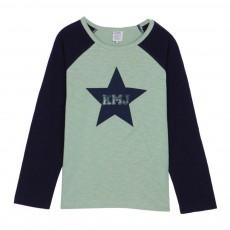 T-Shirt Bicolore Etoile KMJ Tempou Vert