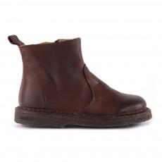 Boots Zippées Suède Marron
