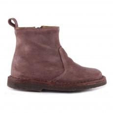 Boots Zippées Suède Vieux Rose