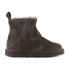 Boots Fourrées Zippées Suède Vert foncé