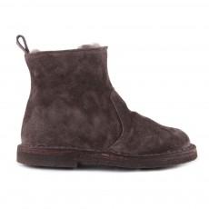 Boots Fourrées Zippées Suède Gris anthracite