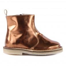 Boots Fourrées Zippées Cuir Métallique Cuivre