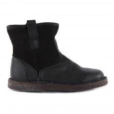 Boots Suède Fourrées Mouton Enfilables Noir