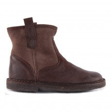 Boots Suède Fourrées Mouton Enfilables Marron