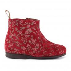 Boots Zippées Suède à Fleurs Bordeaux