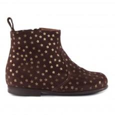 Boots Zippées Suède Etoiles Marron