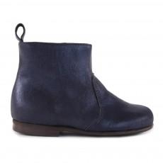 Boots Zippées Suède Bleu marine