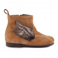 Boots Suède Zippée Ailes Caramel