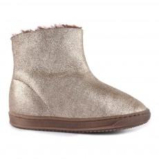 Boots Cuir Fourrées Zippées Doré