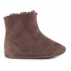 Boots Cuir Fourrées Zippées Marron