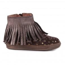 Boots Suède Zippées Etoiles Marron