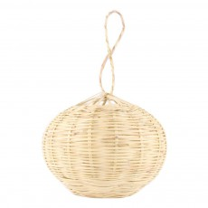 Suspension boule lumineuse en osier 20 cm Naturel