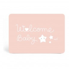 Carte simple Welcome baby Rose