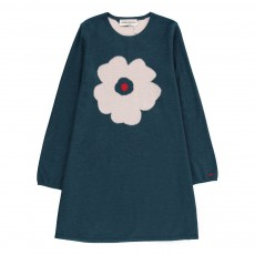 Robe Maille Fleur Bleu pétrole