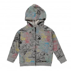 Sweat Capuche Zippé Snoopy Escape Gris chiné