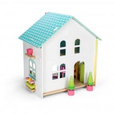 Maison aux tuiles vertes meublée Multicolore