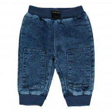 Pantalon Molleton Empiècements Genoux Bébé Denim