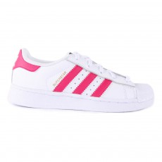 Baskets Cuir Lacets Superstar Rose Blanc