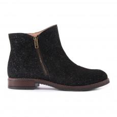 Boots Cuir Paillettes Zippées Noir